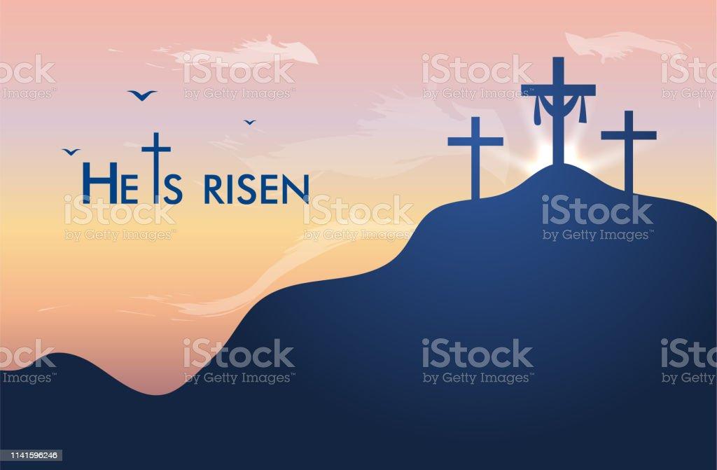 Hi is risen holy week easter banner. Easter christian motive, vector...