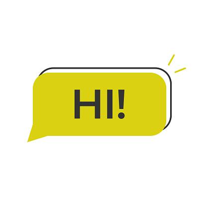 Hi Speech Bubble Icon Vector Design.