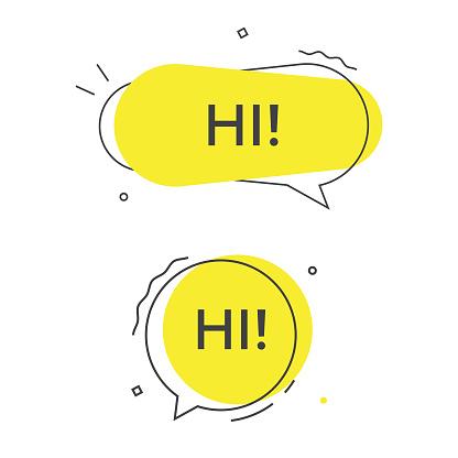 Hi Speech Bubble Vector Icon.