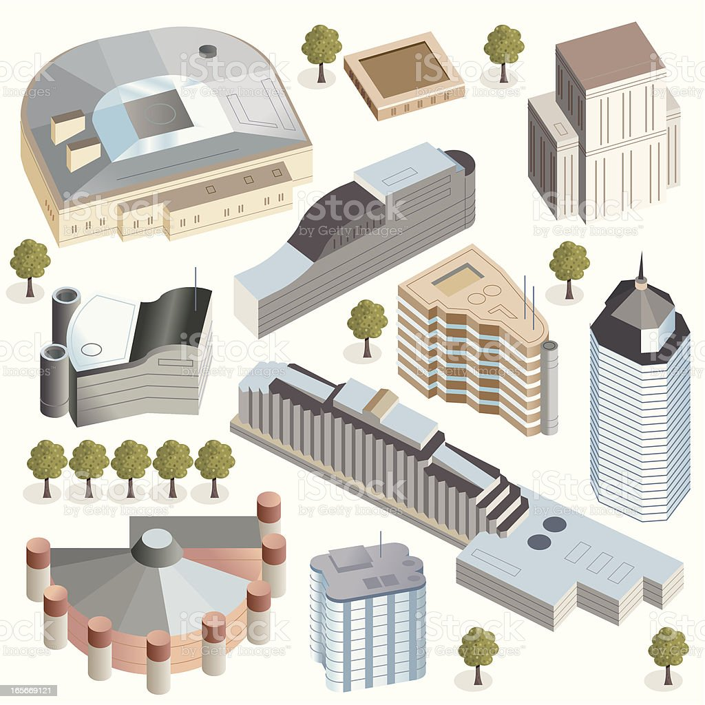 Hi Tec Office, Hotel and Event  Buildings vector art illustration