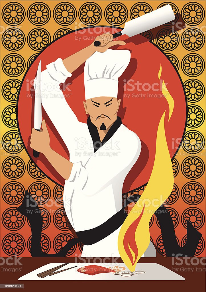 Hibachi chef royalty-free stock vector art