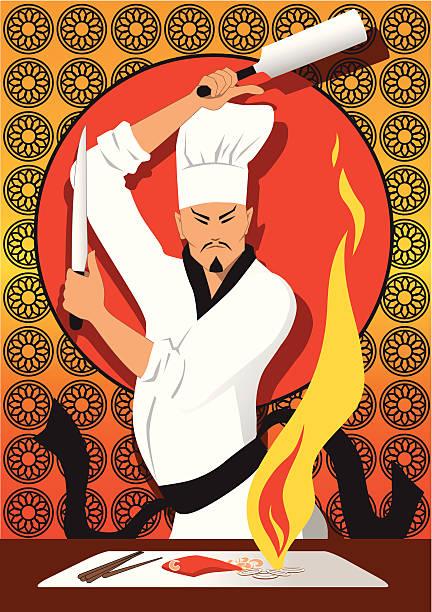 bildbanksillustrationer, clip art samt tecknat material och ikoner med hibachi chef - japanskt ursprung