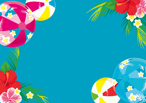 Hibiscus and beach balls illustration background. Southern country image.Summer greeting card.