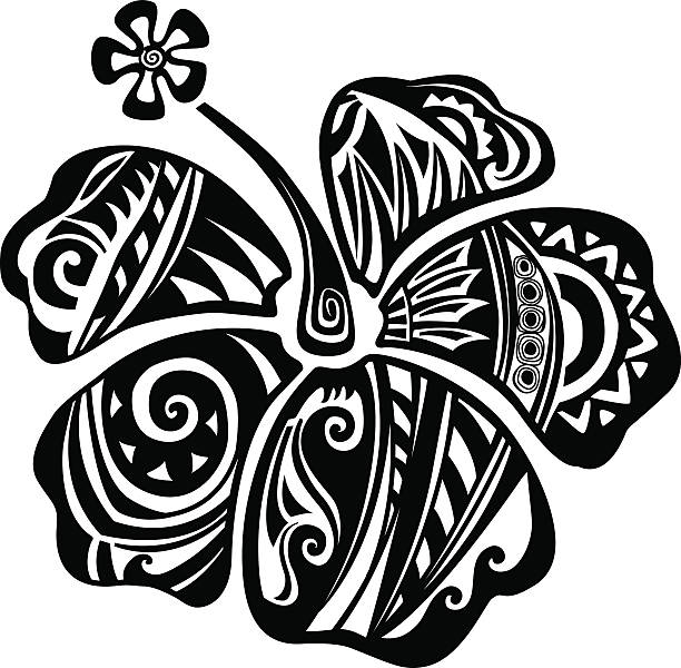 Hibiscus black and white vector art illustration