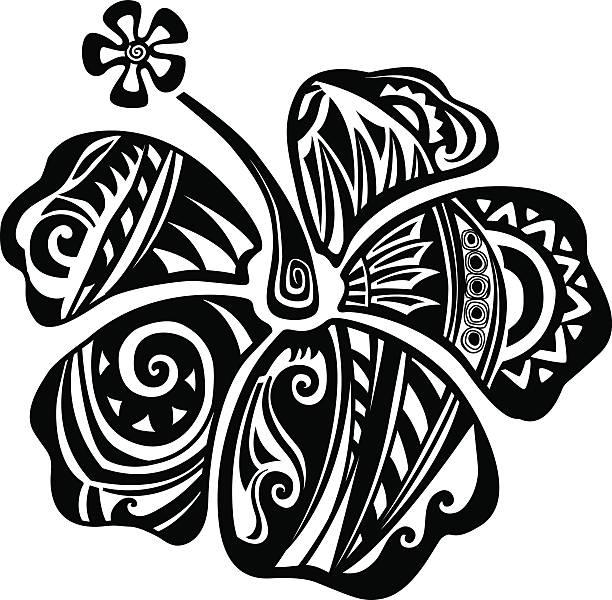hibiscus black and white - maori tattoos stock-grafiken, -clipart, -cartoons und -symbole