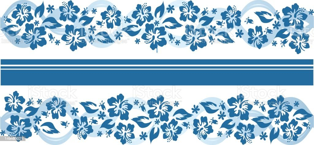 Hibiscus flower panel in blue royalty-free stock vector art