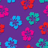 Vector illustration of neon colored hibiscus flowers in a repeating pattern against a purple background.