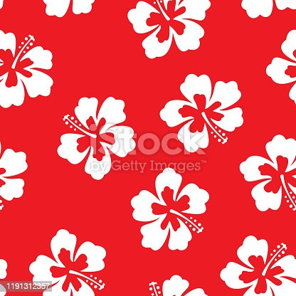 Vector illustration of hibiscus flowers in a repeating pattern against a red background.