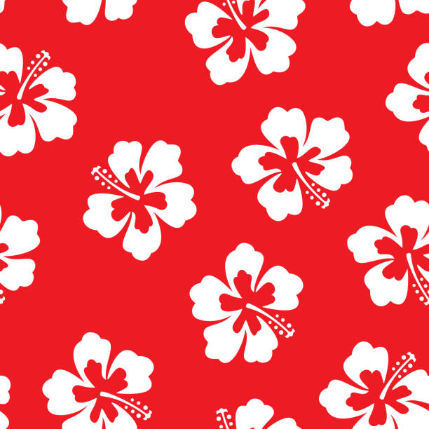 Hibiscus Flower Pattern Vector illustration of hibiscus flowers in a repeating pattern against a red background. hawaiian culture stock illustrations