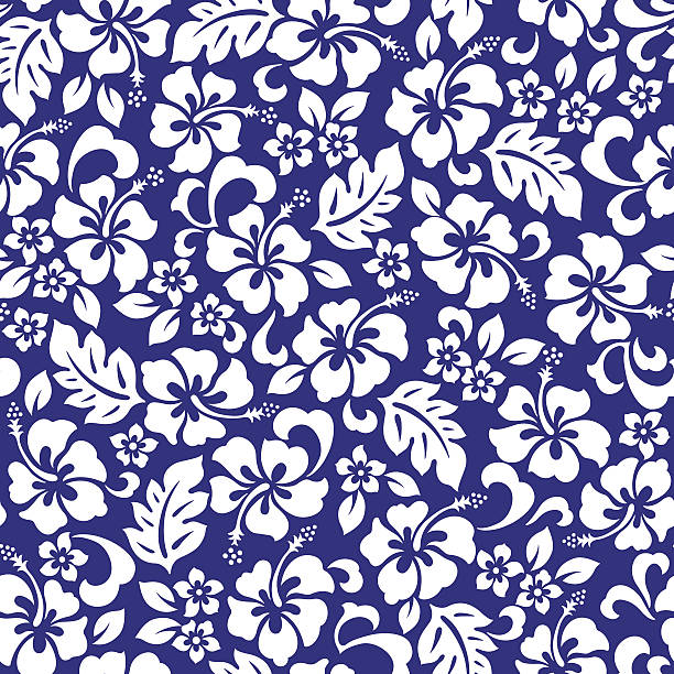 Hibiscus flower pattern I drew Hibiscus for a design hawaiian culture stock illustrations