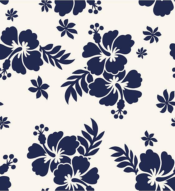 hibiscus flower print hibiscus flower print hawaiian culture stock illustrations