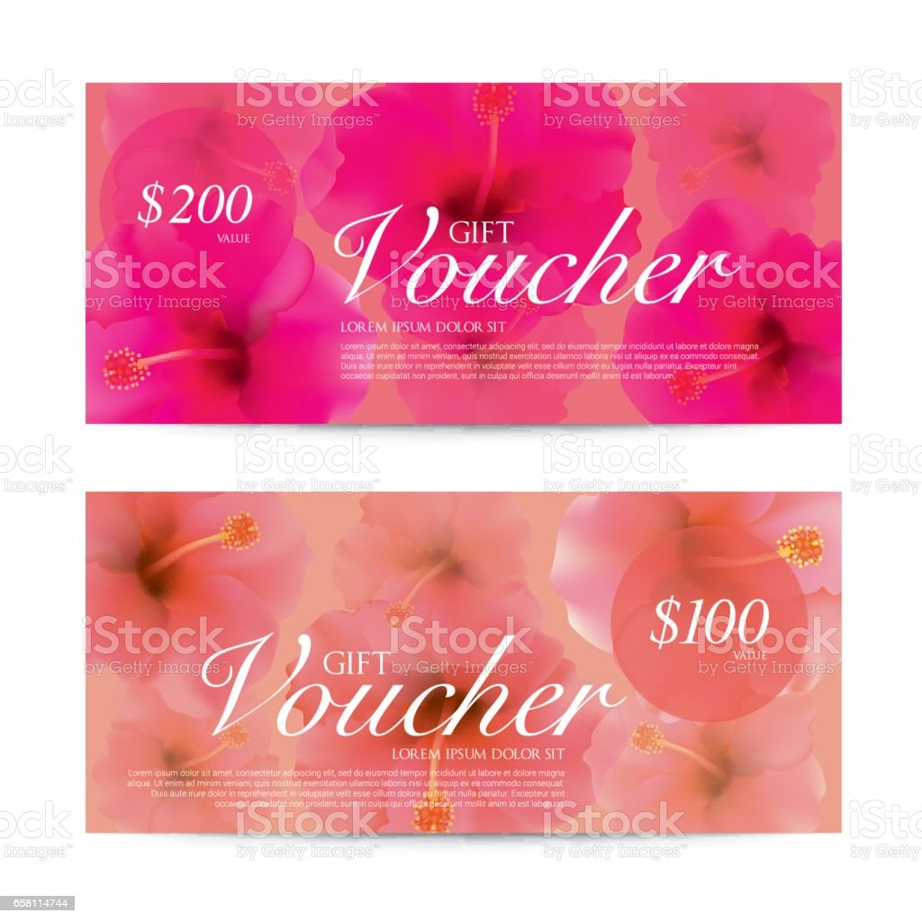 Hibiscus flowers background Gift Voucher template for Spa, Hotel Resort, Vector illustration. royalty-free hibiscus flowers background gift voucher template for spa hotel resort vector illustration stock vector art & more images of beauty