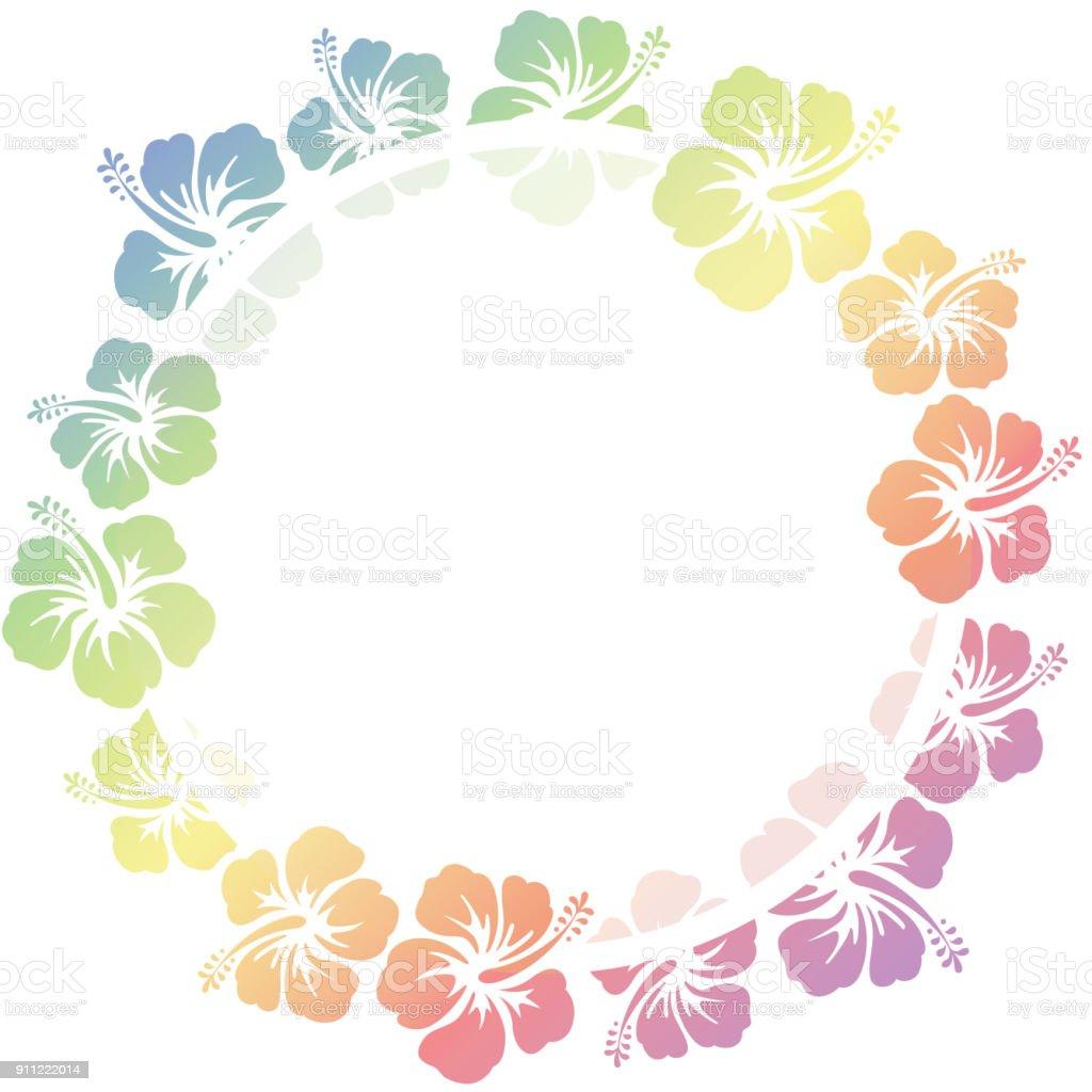 hibiscus flowers frame vector art illustration