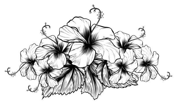 Vectores De Tatuajes Flores Hawaianas E Ilustraciones Libres De