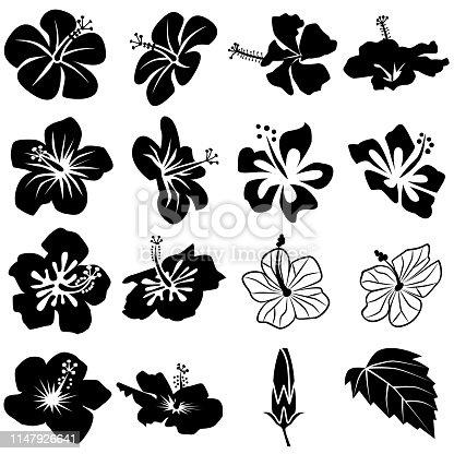 Hibiscus icon set black and white