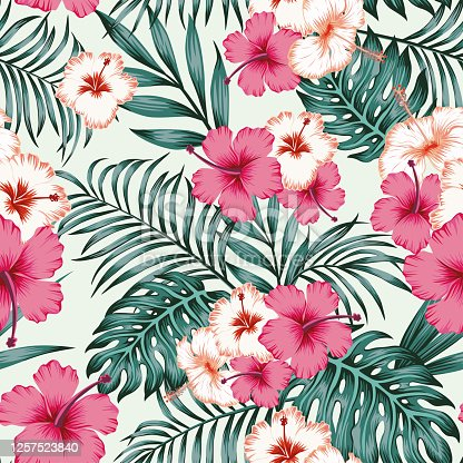 istock Hibiscus leaves seamless tropical pattern background 1257523840