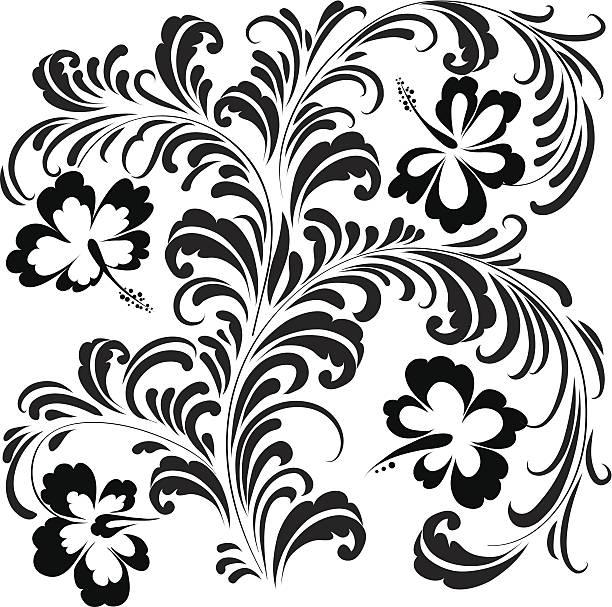 hibiscus-ornament - hibiskusgarten stock-grafiken, -clipart, -cartoons und -symbole