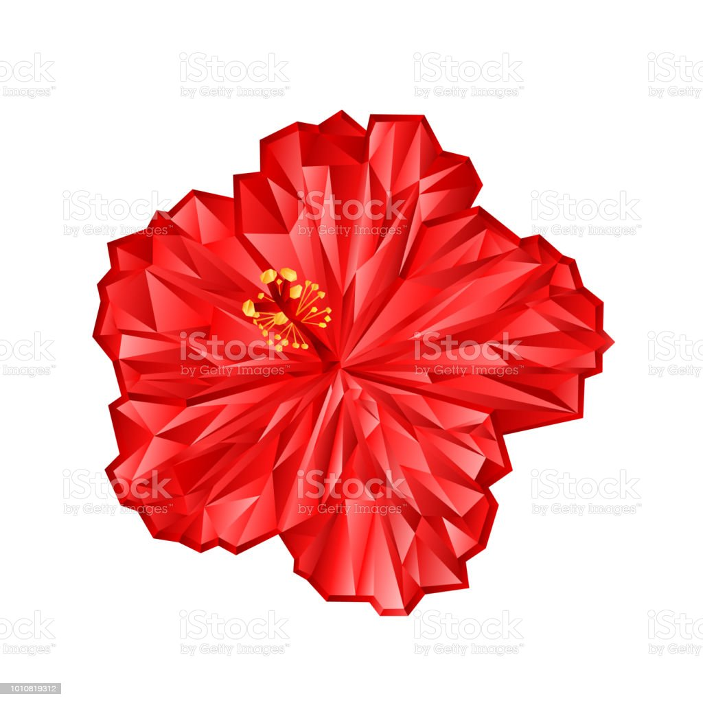Hibiscus pink flower chinese rose polygons on a white background hibiscus pink flower chinese rose polygons on a white background vector illustration editable hand draw izmirmasajfo