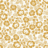 Vector hibiscus seamless pattern .