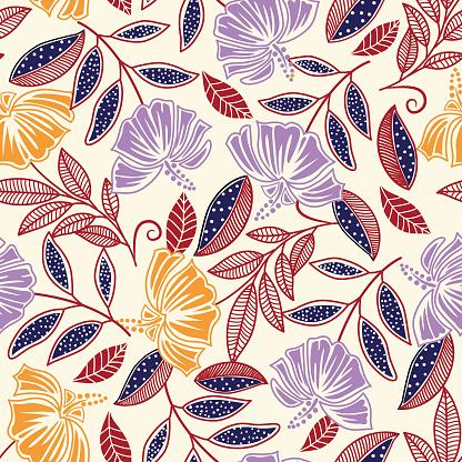 Hibiscus seamless pattern .