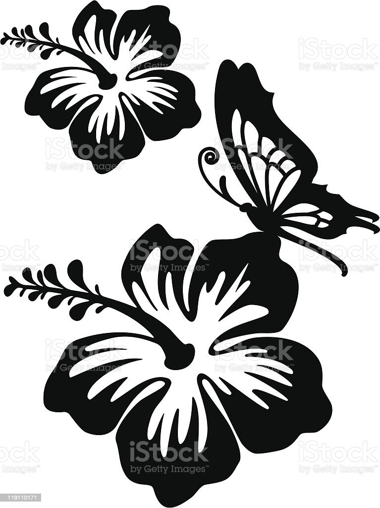 Hibiscus Silhouette Stock Vector Art & More Images of