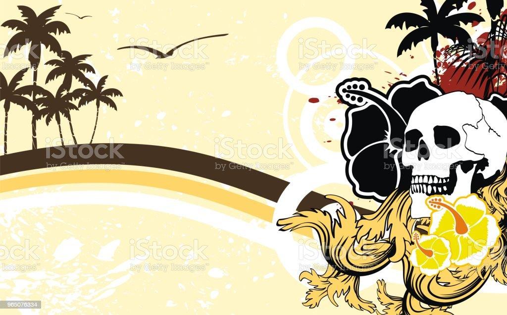 hibiscus tropic summer hawaiian skull background hibiscus tropic summer hawaiian skull background - stockowe grafiki wektorowe i więcej obrazów abstrakcja royalty-free