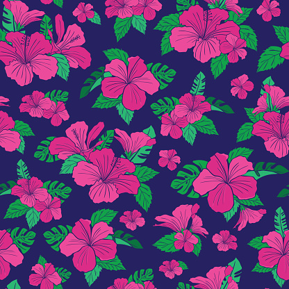 Hibiscus tropical flower pattern