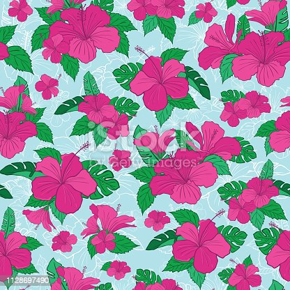 istock Hibiscus tropical flower pattern 1128697490