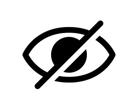 Hidden eye vector icon (Monochrome)