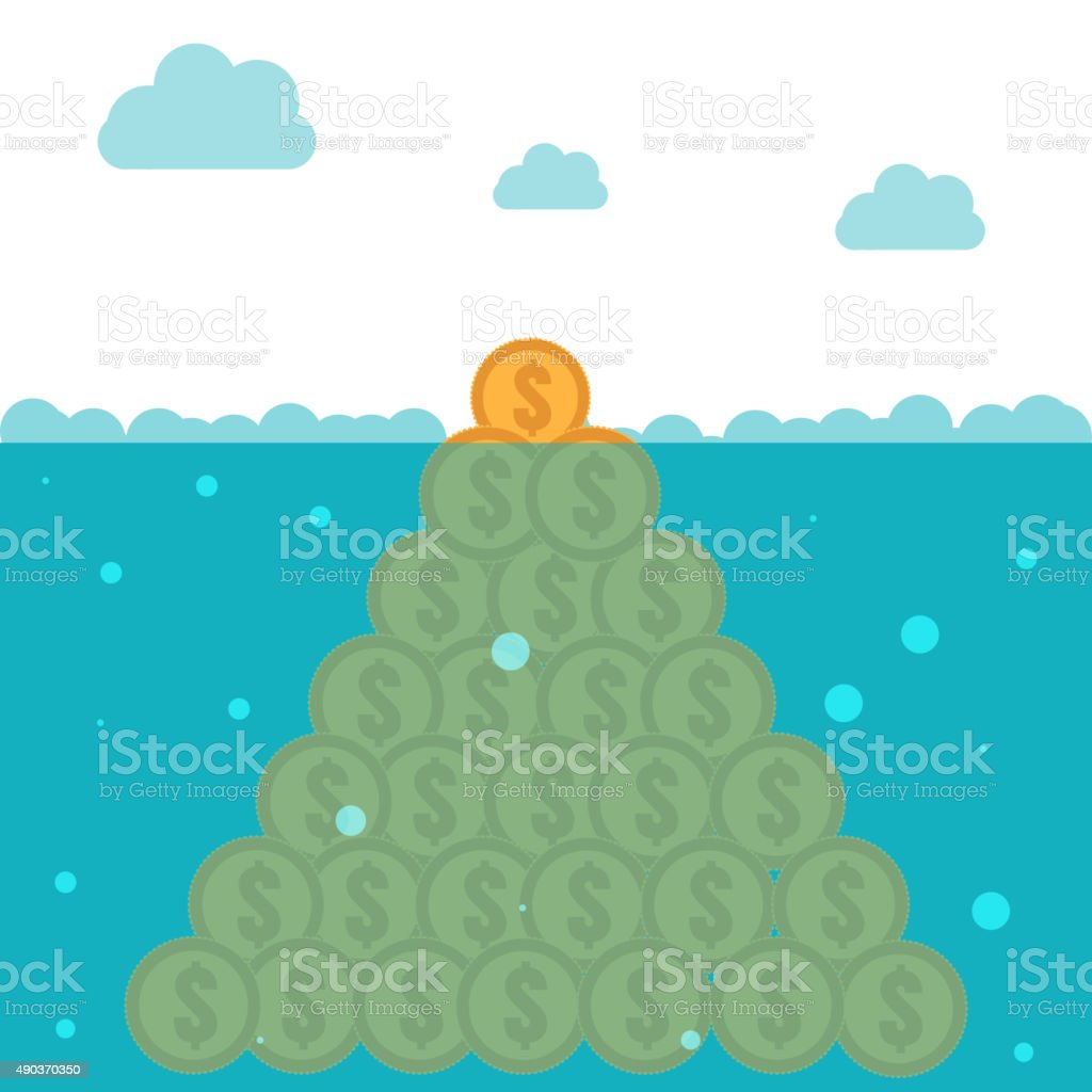 Hidden potential concept.  Iceberg of the coins vector art illustration