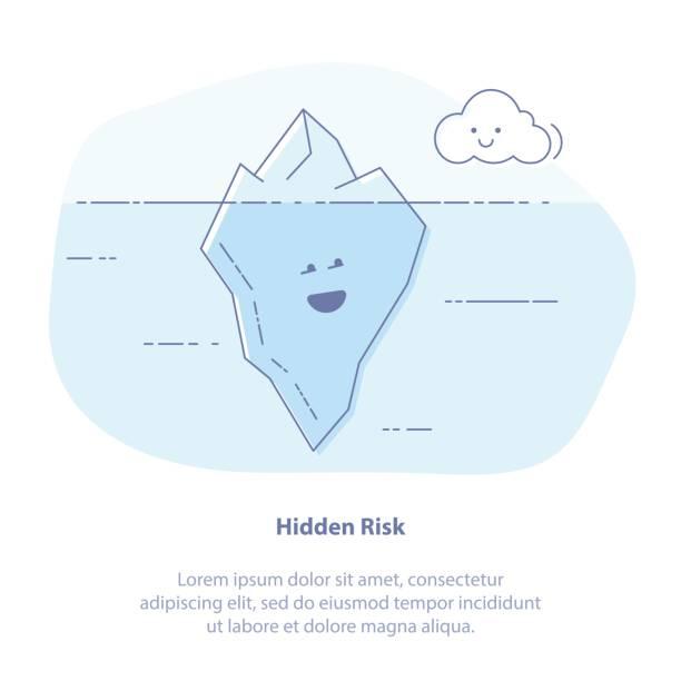 Versteckte Probleme oder Ergebnisse, Klima ändert. Eisberg im Meer-Wasser-Vektor-Illustration, großen Eisbergs schwimmend im Meereswellen mit großen Unterwasser-Teil. – Vektorgrafik