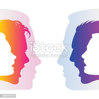 Man and woman hide true feelings by an indifferent neutral faces; Social relationships and communication between man and woman; Silhouettes of men and women faces with emotions; Eps8