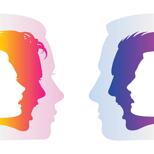 hide feelings communication face expression emotion man woman silhouettes Man and woman hide true feelings by an indifferent neutral faces; Social relationships and communication between man and woman; Silhouettes of men and women faces with emotions; Eps8 arguing stock illustrations