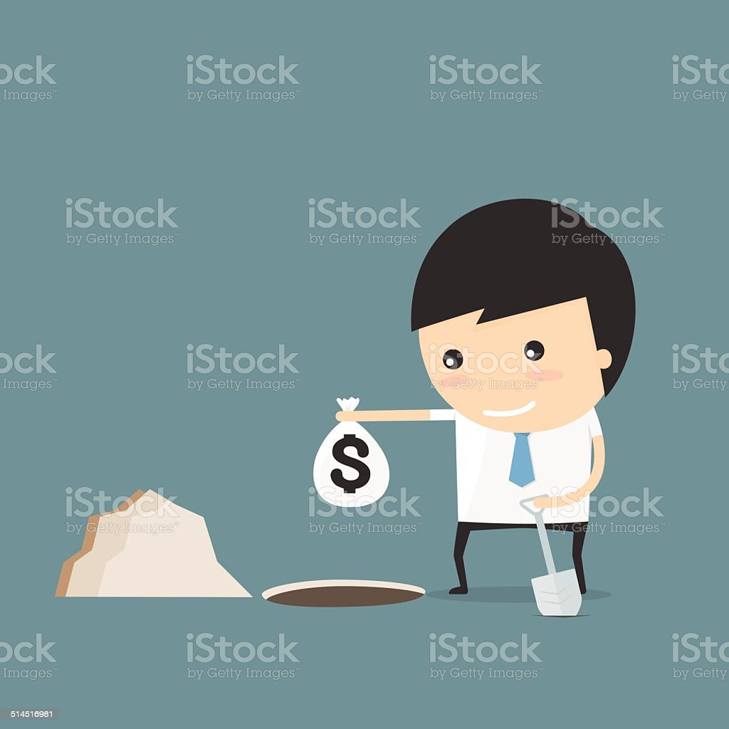 Hide the money. businessman idea concept vector art illustration