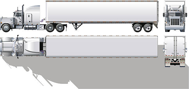 Hi-detailed commercial semi-truck Vector hi-detailed commercial semi-truck. WARNING! Available cdr-12 and ai-10 vector format separated by groups with transparency option for easy edit. semi truck stock illustrations