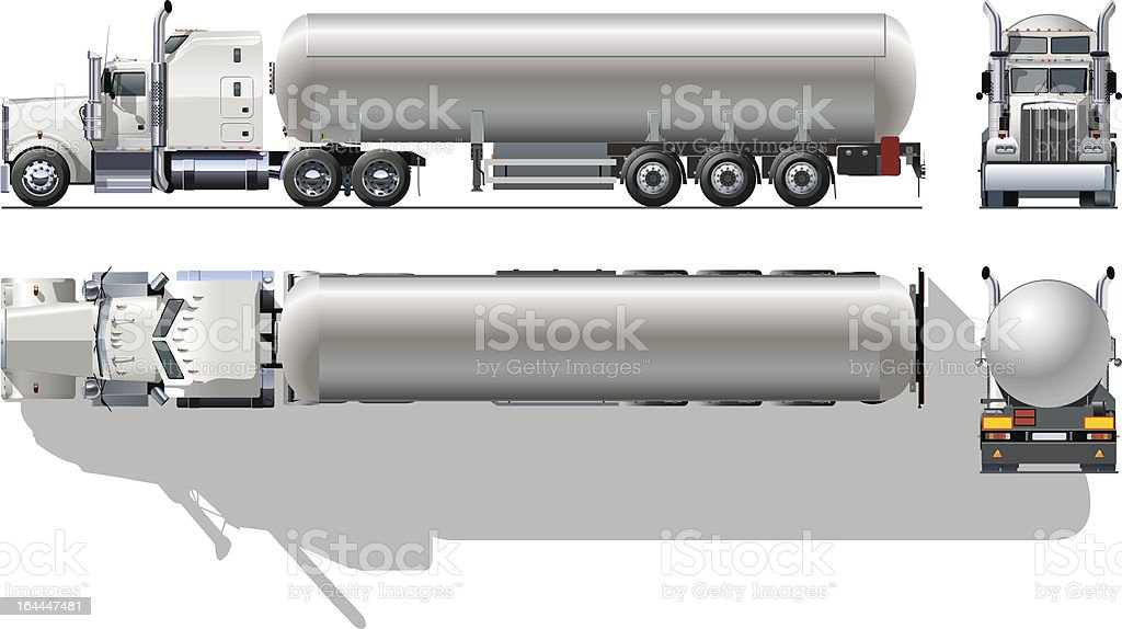 Hi-detailed tanker semi-truck vector art illustration