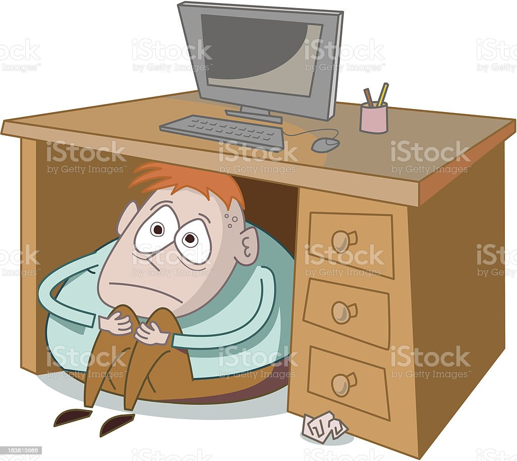 Hiding Under Desk vector art illustration