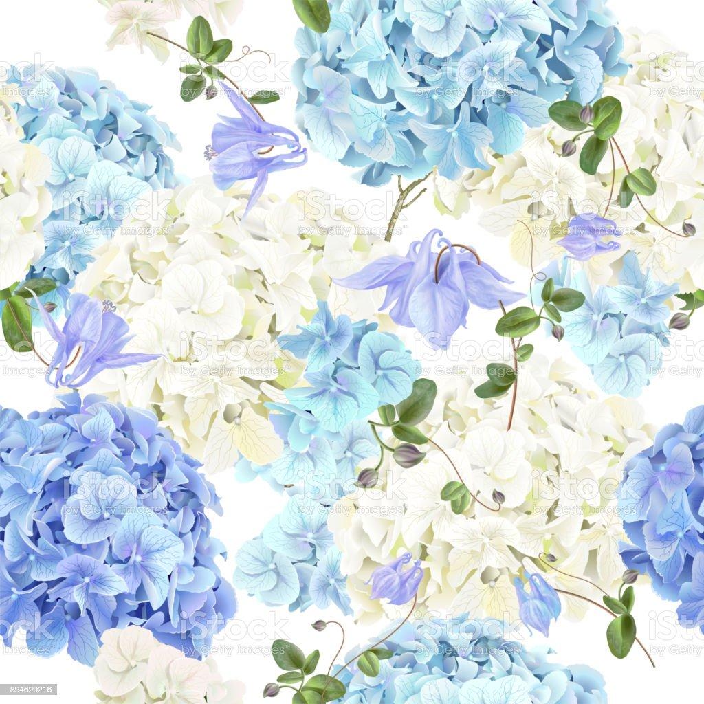 青い紫陽花パターン ベクターアートイラスト