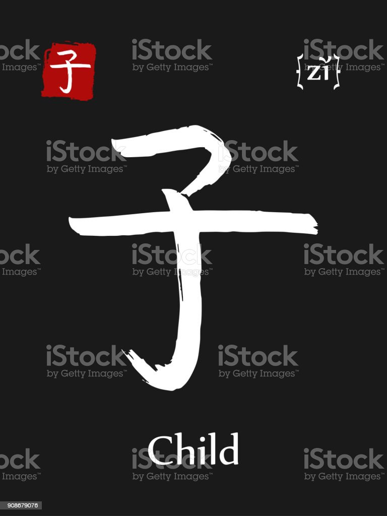 Hieroglyph Chinese Calligraphy Translate Child Vector East Asian