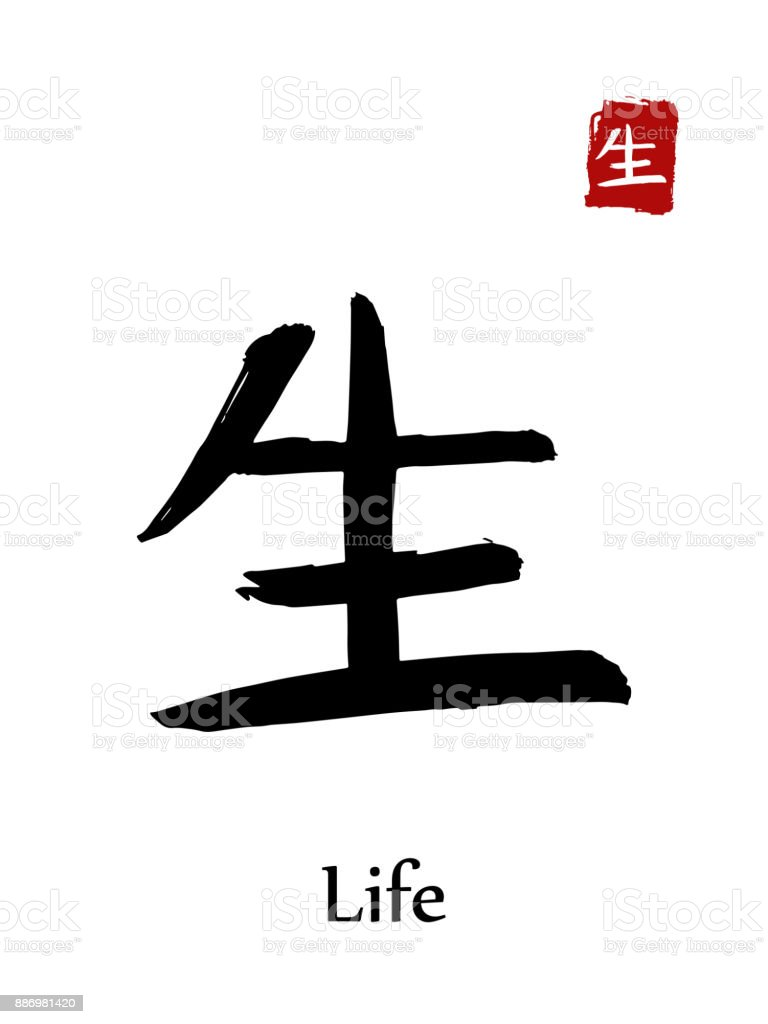 Hieroglyph Chinese Calligraphy Translate Life Vector East Asian
