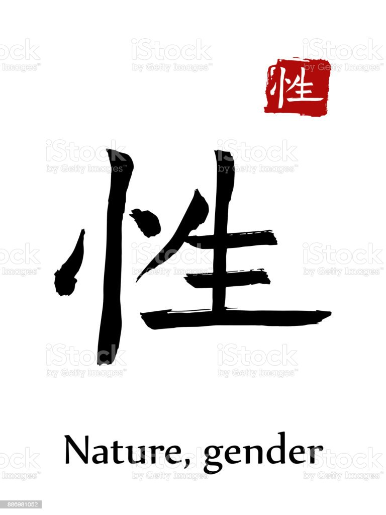 Hieroglyph Chinese Calligraphy Translate Nature Gender Vector East