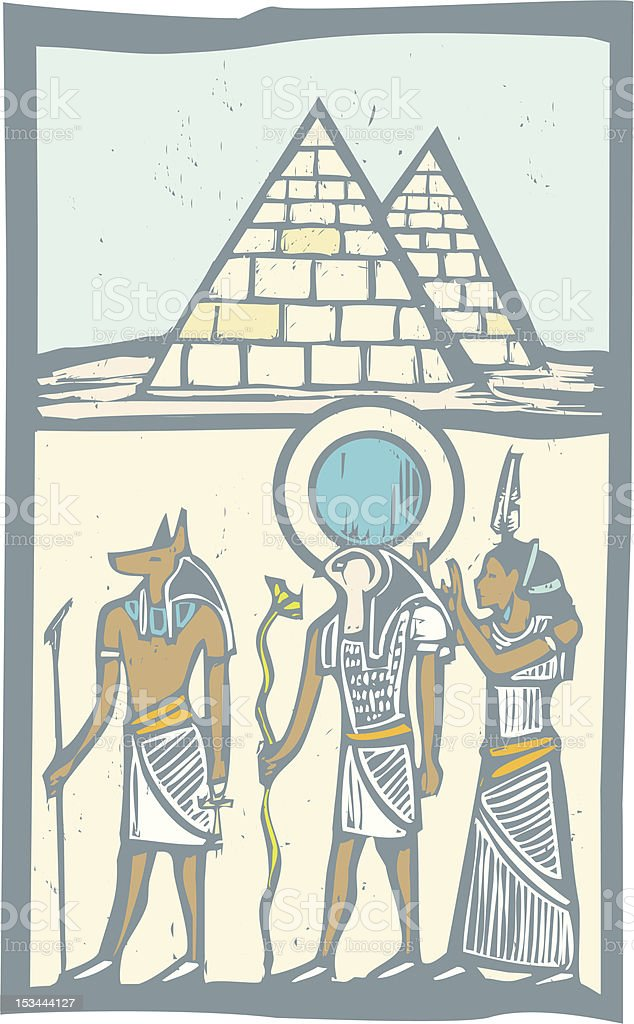 Hieroglyph Pyramids royalty-free stock vector art