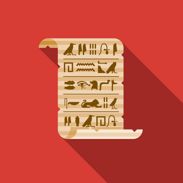 Hieroglyphs on Papyrus Egypt Icon A flat design icon with a long shadow. File is built in the CMYK color space for optimal printing. Color swatches are global so it's easy to change colors across the document. ancient egyptian culture stock illustrations