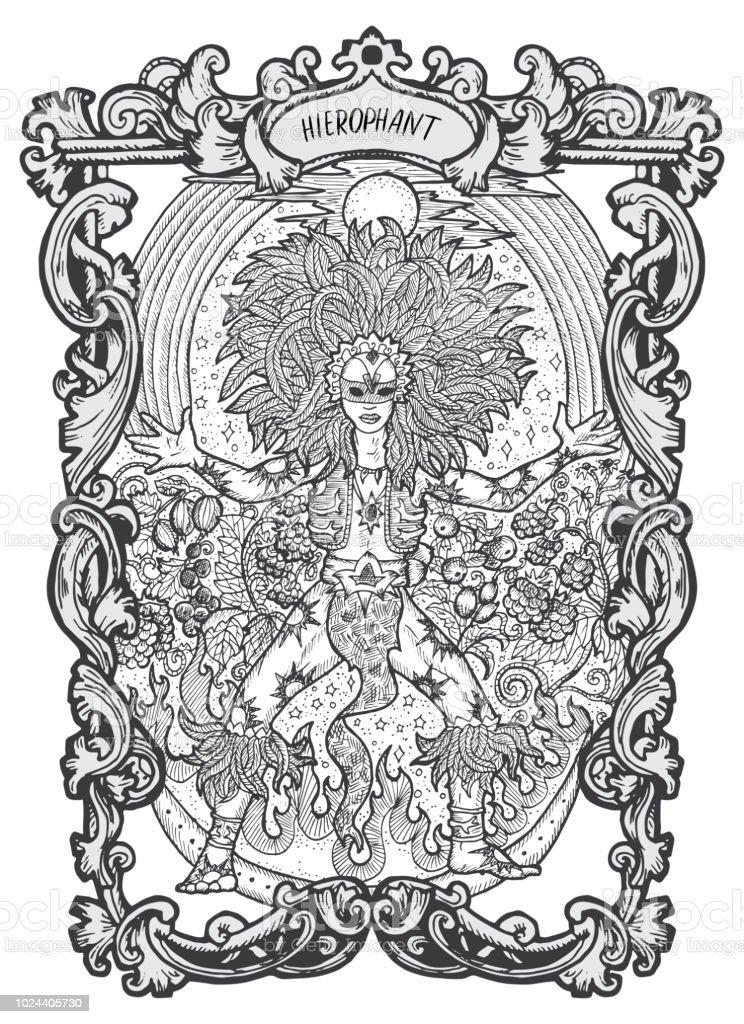 Hierophant Major Arcana Tarot Card Stock Illustration