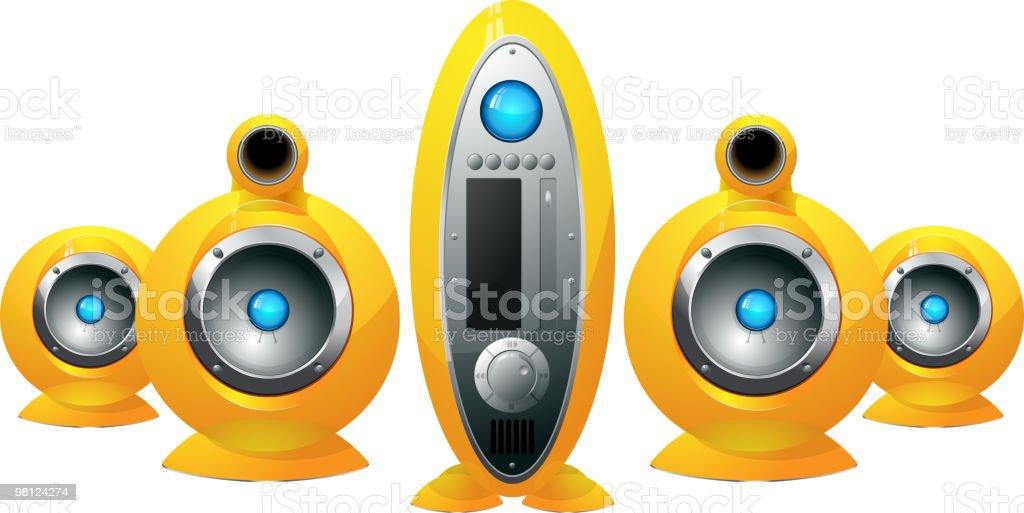 Hi-Fi  yellow speakers system royalty-free hifi yellow speakers system stock vector art & more images of audio equipment