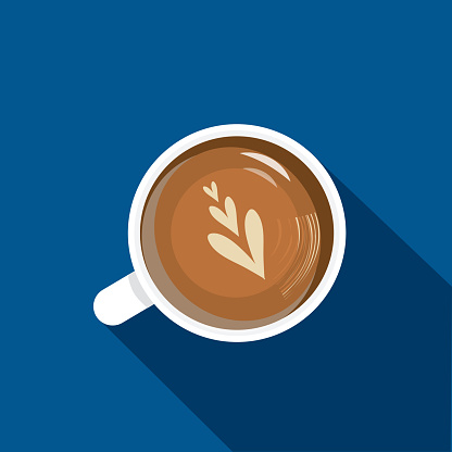 High angle view cappuccino Coffee Flat Design themed Icon with shadow