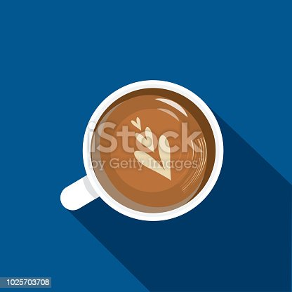 Vector illustration of a High angle view cappuccino coffee Flat Design themed Icon with shadow. Vector eps 10, fully editable.