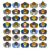 istock High angle view of businessman looking up and standing in large group of business people 1283221283