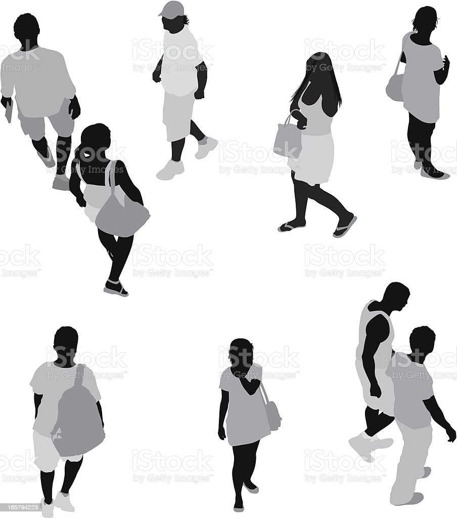 High angle view of casual people on street royalty-free stock vector art