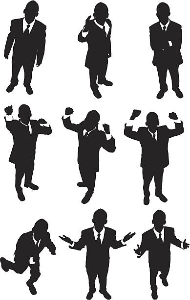 stockillustraties, clipart, cartoons en iconen met high angle view of excited businessmen - menselijke arm